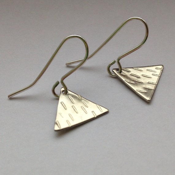 Tiny Silver Plated Triangle Earrings - Silver - Minimal - Minimalist - Simple - Modern - Everyday - Gift - Pattern - Tribal - Small - Cute