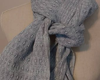 Scarf Handwoven Cotton Scarf Blue and Turquoise Scarf Star Pattern Gift for Her Hand Dyed Scarf