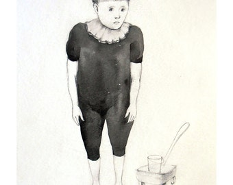 Boy art drawing illustration original painting portrait people figurative