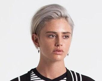 HERSHIES, Large Silver Stud Hoop Earrings, Punk Earrings, Spike Earrings, Contemporary Earrings, Dangle Earrings
