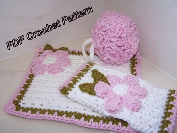 Crochet patrones para Set de baño Spa de lujo en PDF formato