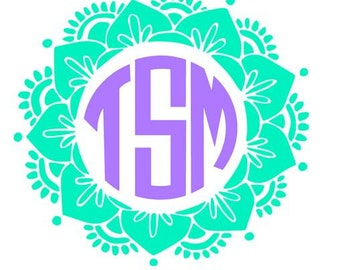 Mandala monogram Decal - monogram deca