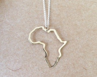 Outline of africa african necklace continent pendant handmade gold africa pendant yellow gold africa necklace solid gold africa aloadofball Image collections