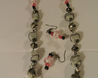 Black, Pink and Grey Necklace