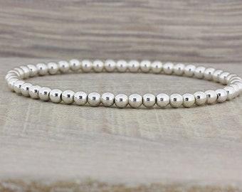 Sterling Silver Beads Bracelet/Sterling silver Ball Bracelet/Beaded Bracelet/Silver Ball Bracelet/Minimalist Bracelet/Stackable