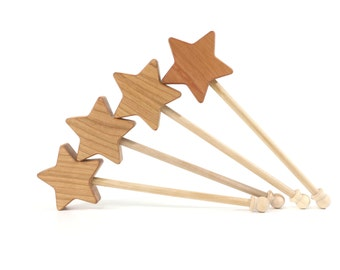 Wooden Star Wand - Fairy Princess FairyTale - Pretend Play Waldorf Toy
