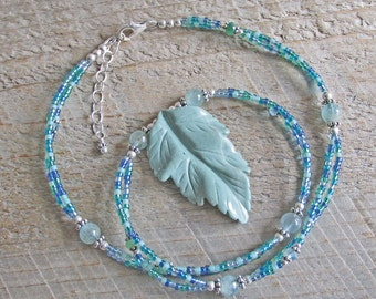 Green Jasper Leaf Aquamarine Emerald Topaz Healing Gemstone Statement Necklace