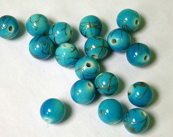 200pcs Bead Acrylic Turquoise Blue With Gold Swirls 10mm Round