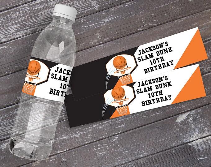 Basketball Water Bottle Label/Wrap - Basketball Party, Basketball Birthday. Basketball Party | Editable DIY Instant Download PDF Printable