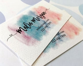 Printed Business Cards, Watercolor Business Card, Custom Business Card - Set of 50