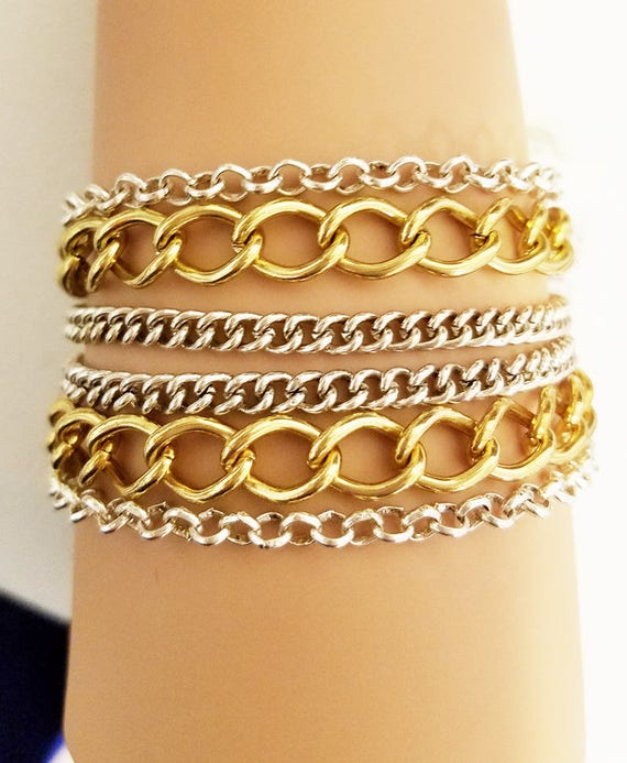 multi layers chain bracelet gold silver links metal womens mens unisex jewelry