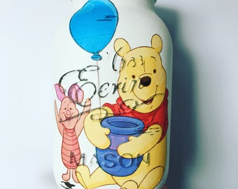 Hand decorated mason jar - Winnie the Pooh, home decor, childs nursery, childrens room, baby gift, Christening gift.