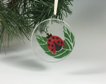 Ladybug Ornament, Fused Glass Ladybug, Ladybug Art, Lady Bug, Christmas Ornament, Insects, Red Bug