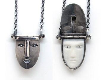 secret locket mask pendant, silver unisex mysterious necklace