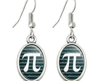 Pi math geek nerd 3.14 novelty dangling drop oval charm earrings