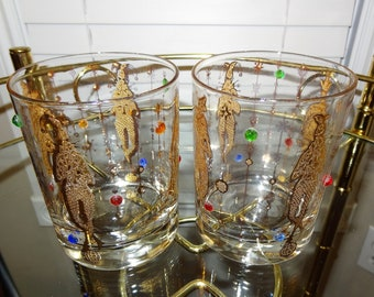Mardi Gras Double Old Fashioned Culver Barware, Jester 1960s Set of Two Bar Glasses, Gold Harlequin Musicians With Gems, Mid Century Barware