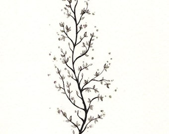 """Blossom Print: digital print of an original drawing available 5x7"""" or 8x10"""""""