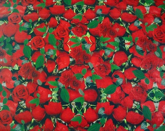 Oilcloth KT705-Motif Roses Red