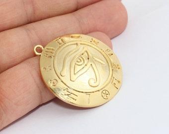 24k Shiny Gold Egyptian Eye , Horus Necklace , Eye Charms , Medallion Pendant, Ra Pendant , MTE515