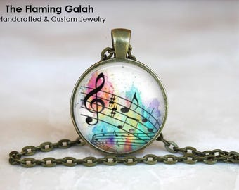 TREBLE CLEF and NOTES Pendant • Musical Notes • Gift for Musician • Music Lover • Music Teacher • Gift Under 20 • Made in Australia (P1511)
