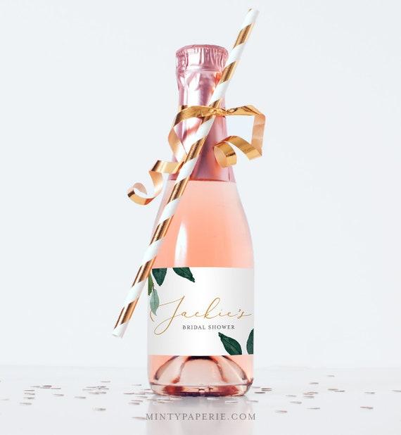 Mini Champagne Bottle Template, Wine Label, Wedding / Bridal Shower Favor Sticker, Instant Download, 100% Editable, Greenery #044-104ML