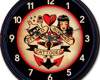 Tattoo, Sailor, Anchor, Tatt Parlor, Tat Parlour, Tatt, Tat, Wall Clock, Stewed, Screwed, Tattooed, Old School, Man Cave, Wall Decor, New