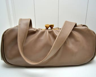 Original Vintage handbag, bag, leather, 40s, Dita, Beige, Nude, Gold,  Boho