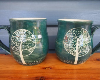 unique coffee mug Handmade and hand decorated coffee mug tree mug leaf green stoneware with tree pattern