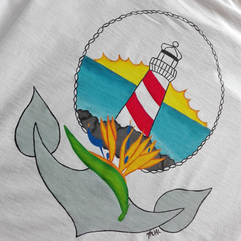 Lighthouse Anchor tshirt, strelitzia flower bird of paradise t-shirt, surf tshirt, sailor, nautical, hand painted tshirt, cotton tshirt