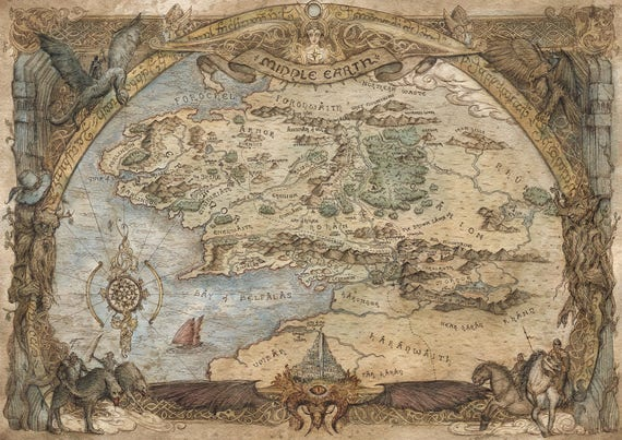 middle earth map poster choose your size includes a free