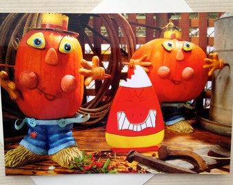 Thanksgiving Greeting Card - Harvest Time Card - Fall Greeting Card - Seasonal Greeting Card - Funny Pumpkin Card