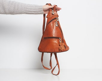 Vintage Brown Leather Shoulder Bag Backpack