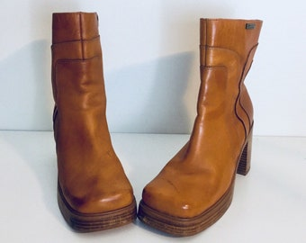 90s Platform Boots Leather Chunky Heels Size 9 B 39 40 by Mudd