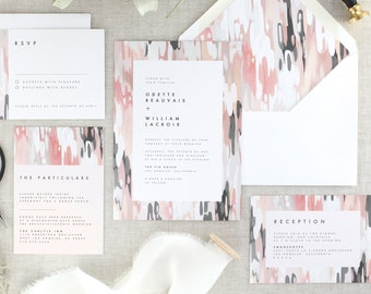 Pink and Grey Wedding Invites Pink Wedding Invitation Suite Grey Wedding Invitation Set Blush Wedding Invitations Printed - Set of 10
