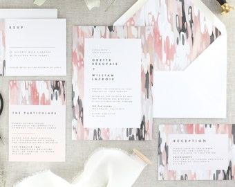 Pink and Grey Wedding Invitation Set, Modern Wedding Invites, Blush Wedding Invitations Printed, Abstract Art, Industrial, Gray, Set of 10