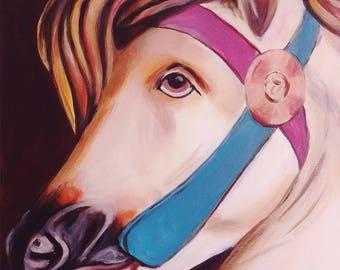 "An original painting, ""Carousel Horse"" by Sherri Hepler, acrylic on canvas"