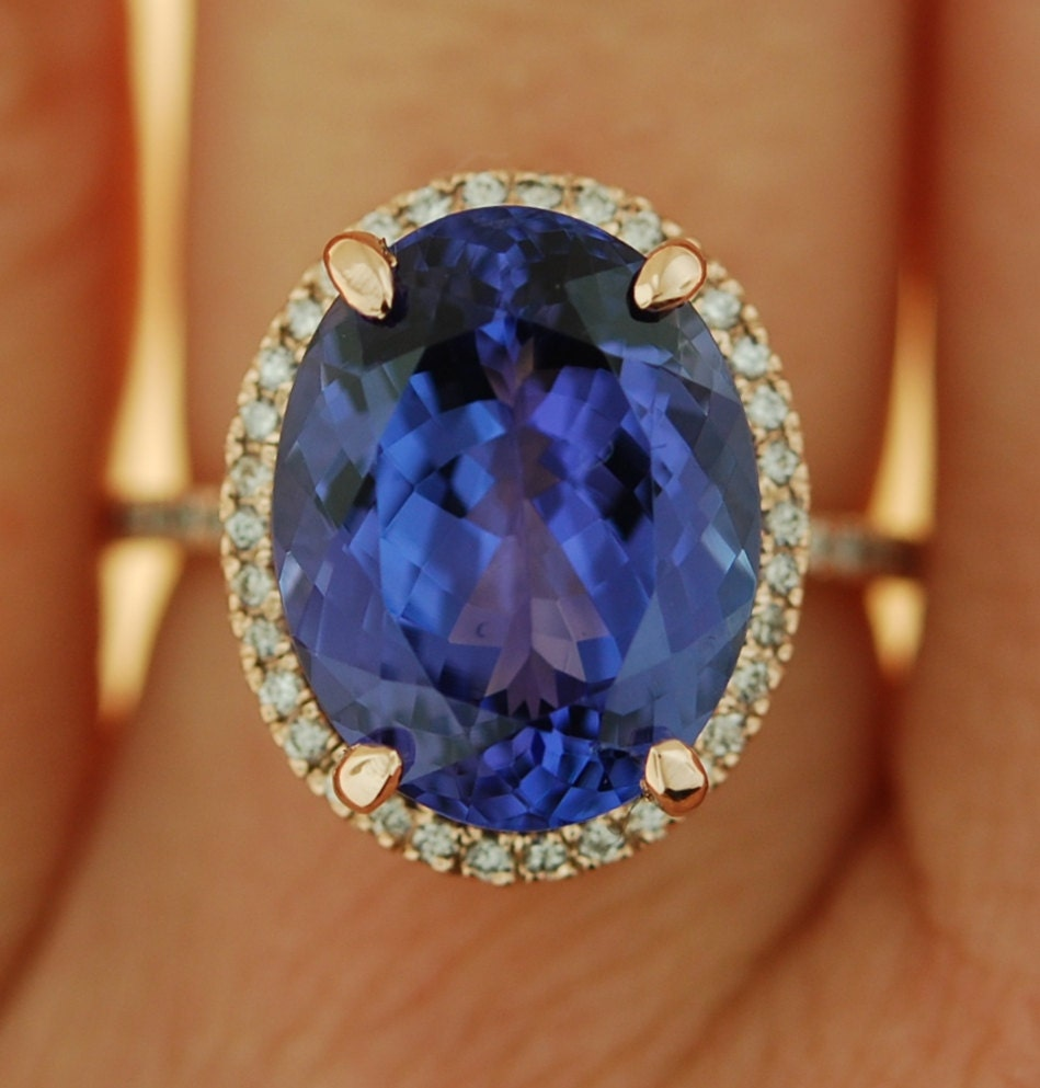 halo certified ring tanzanite gia white diamond gold double engagement