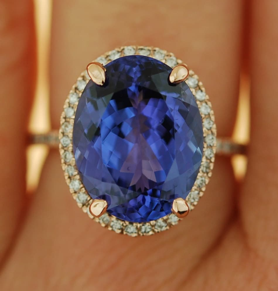natural gia tanzanite ring blue products diamonds certified halo