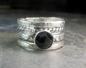 sterling silver stacking rings black spinel moonstone rose cut  - Night Magic