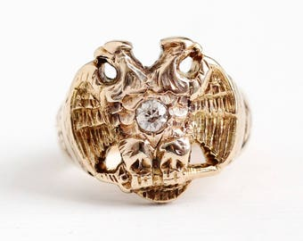 Scottish Rite Ring - 14k Rosy Yellow Gold Double Headed Eagle 32nd Degree Old Mine Cut Diamond Statement - Size 6 Masonic Fine Jewelry