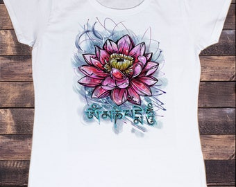 Women's T-Shirt Beautiful Lotus Tropical Floral Zen Ethical Print TS837
