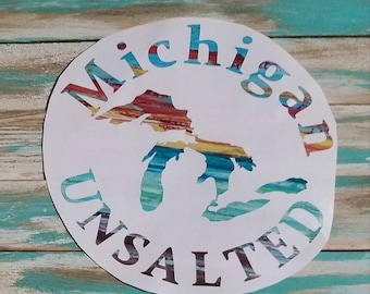 Michigan unsalted decals, sunset, watercolor,  state decals, custom decals, kayak decal, made in Michigan, car decals, beach decals