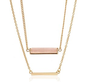 Diane Lo'ren 18kt Gold Plated Genuine Rose Quartz Layered Necklaces For Women Jewelry