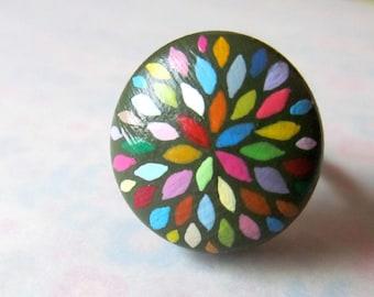 handpainted ring - petal burst in olive
