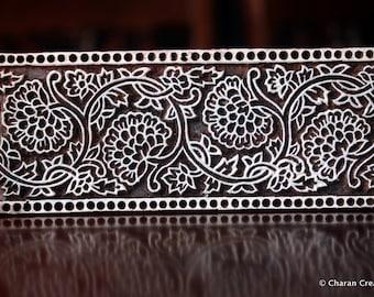 Pottery Stamps, Indian Wood Stamp, Textile Stamp, Wood Blocks, Tjaps, Printing Stamp- Flortal Border /Seamless Pattern
