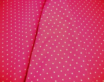 Polyester doubleknit fabric  bright red with white dots