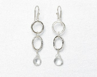 Sparkling Quarz Earrings, Sterling Silver Round and Oval Drops, Hammered Metal, Handmade
