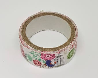 Songbird and Chrysanthemum Washi Tape (15mm x approx 2.5m)