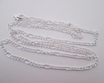 80 cm sautoir collier chaîne maillon figaro 7 x 3.5 mm en métal argenté clair