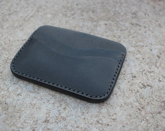 3 Pocket Card Wallet Italian Vegetable Tanned leather Black